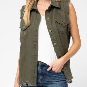 Entro Olive Green Denim Button-Up Collared Vest